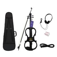 Stylish Electroacoustical 4/4 Maple Violin Fiddle Black Brown Optional with Case Headset Cable Rosin Violin Accessories