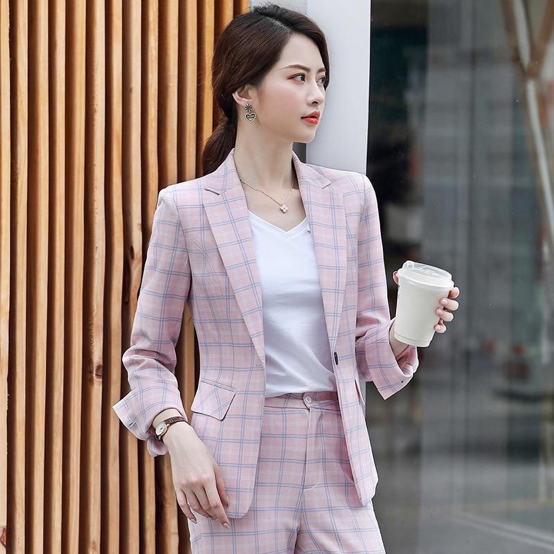 Temperament Women's Plaid Suit Pants Sets Autumn High Quality Slim Plaid Ladies Jacket Suit Casual Trousers Two-piece 2019 New