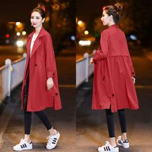Women Long Autumn Trench Big Size Loose Wist Sexy Autumn Solid Pocket Coat Long Sleeves V-Neck Apparel Top Fashion Thin Overcoat cheap Hundred teng Full Knitted Casual Polyester spandex COTTON Pockets Button X-Long trench Women Double Breasted Slim topshop trench