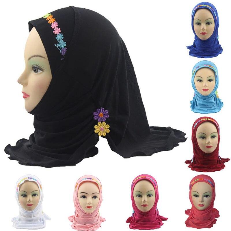 Fashion Accessories Girls Kids Muslim Hijab Islamic Arab Scarf Shawls With Beautiful Flowers For 3 To 8 Years Old Girls