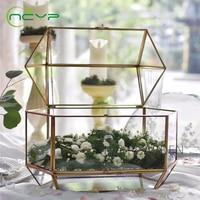 NCYP Large Modern Glass Terrarium for Flower Pot Wedding Card Box Geometric Terrarium Tabletop Glass Plant Gift Card Box