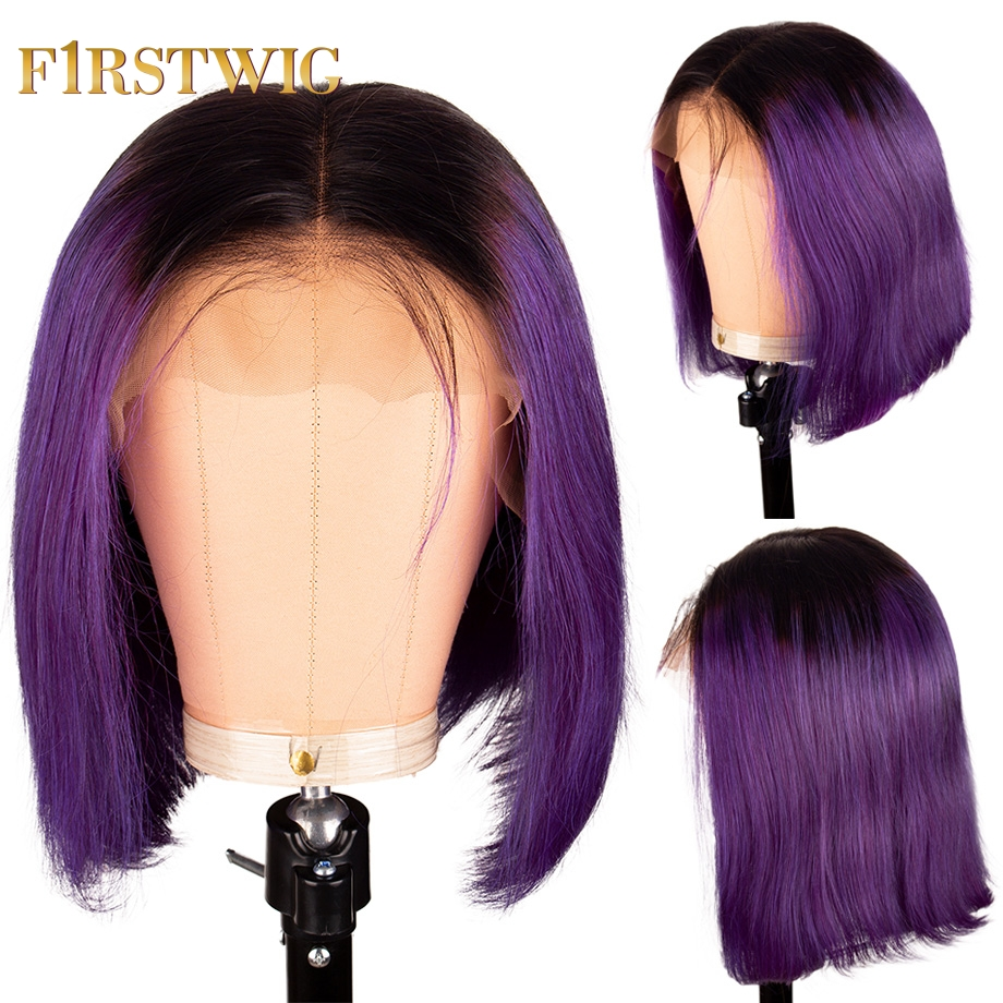 Short Straight T1B Purple Color Bob Wig Brazilian Lace Front Human Hair Wigs 13x4 Pre Plucked With Baby Hair For Black Women