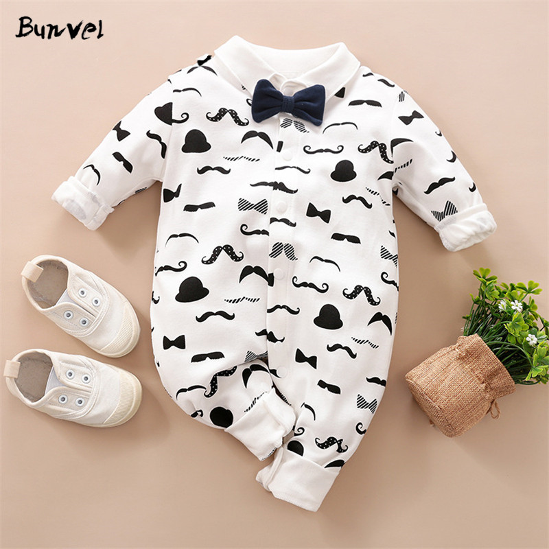 Bunvel Baby Rompers Necktie Beard Pattern Summer Romper For Baby Boy Clothes Girl Jumpsuit Spring Newborn Baby Boys Rompers
