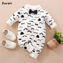 bunvel Baby Rompers Necktie Beard Pattern Winter Romper for Baby Boy Clothes Girl Jumpsuit Autumn Newborn Baby Boys Rompers(China)