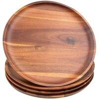 Акация деревянная дощечка, 24 см круглые деревянные пластины, 4 в каждой группе, легко моется, светильник Вес, используется для закусок, десер...
