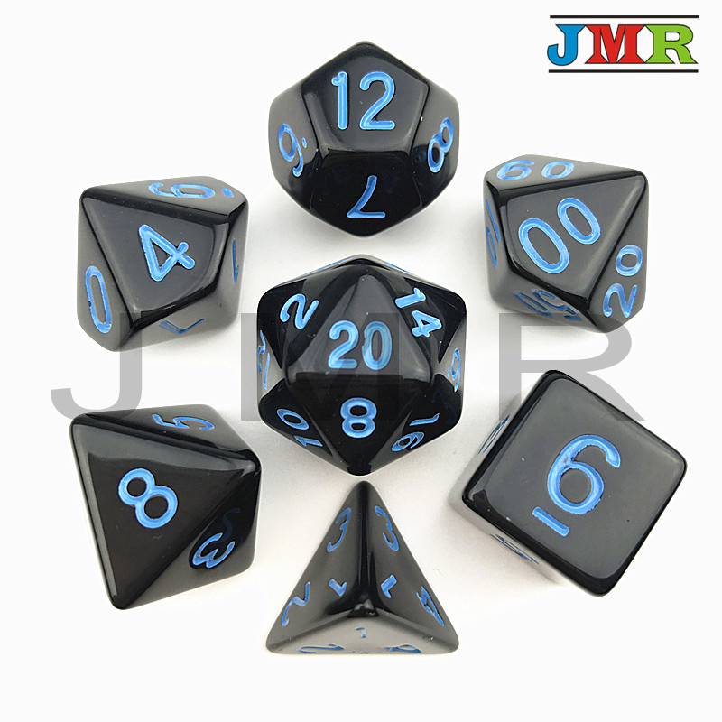 High Quality Black With Blue Ink Color 7pc/lot Opaque Dice Set D4,D6,D8,D10,D10%,D12,D20 Polyhedral Dice Dnd Rpg Board Game