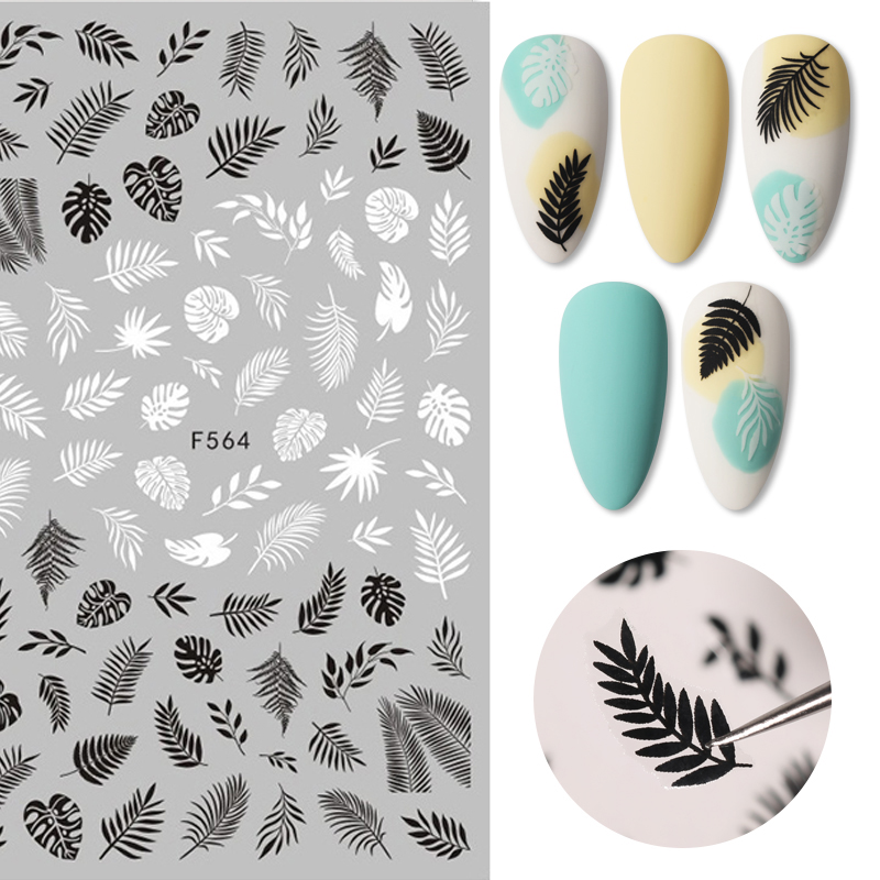Black White 3D Nail Art Stickers Adhesive Transfer Sticker Flower Tropical Plants Image Nail Art Decals Slider DIY Decorations