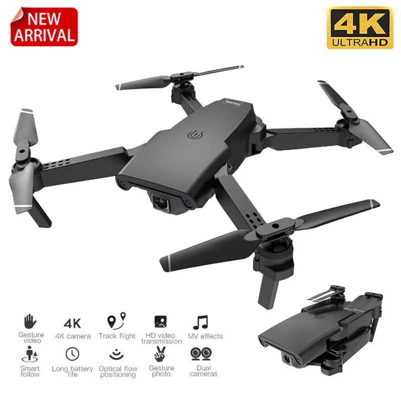 XKJ New S8 RC Drone HD 4k Optical Flow Dual Camera Foldable Quadcopter Wifi Real Time Transmission Fpv RC Helicopters