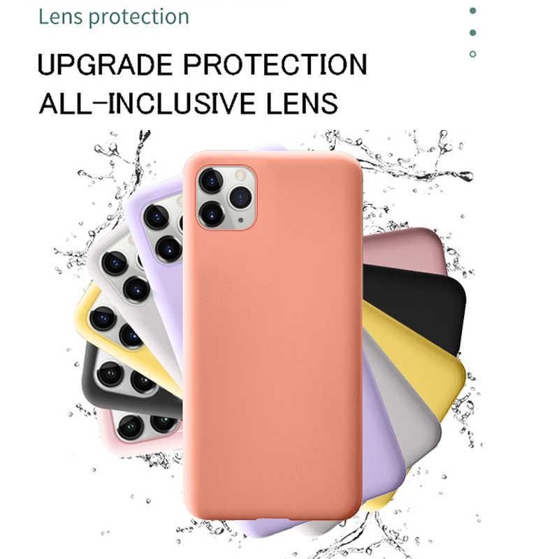 حافظة فاخرة من السيليكون السائل لهاتف آيفون 11 12 برو ماكس SE 2 2020 XS XR X 10 6 S 6 S iPhone 7 8 Plus غلاف خلفي لين للهاتف الخلوي
