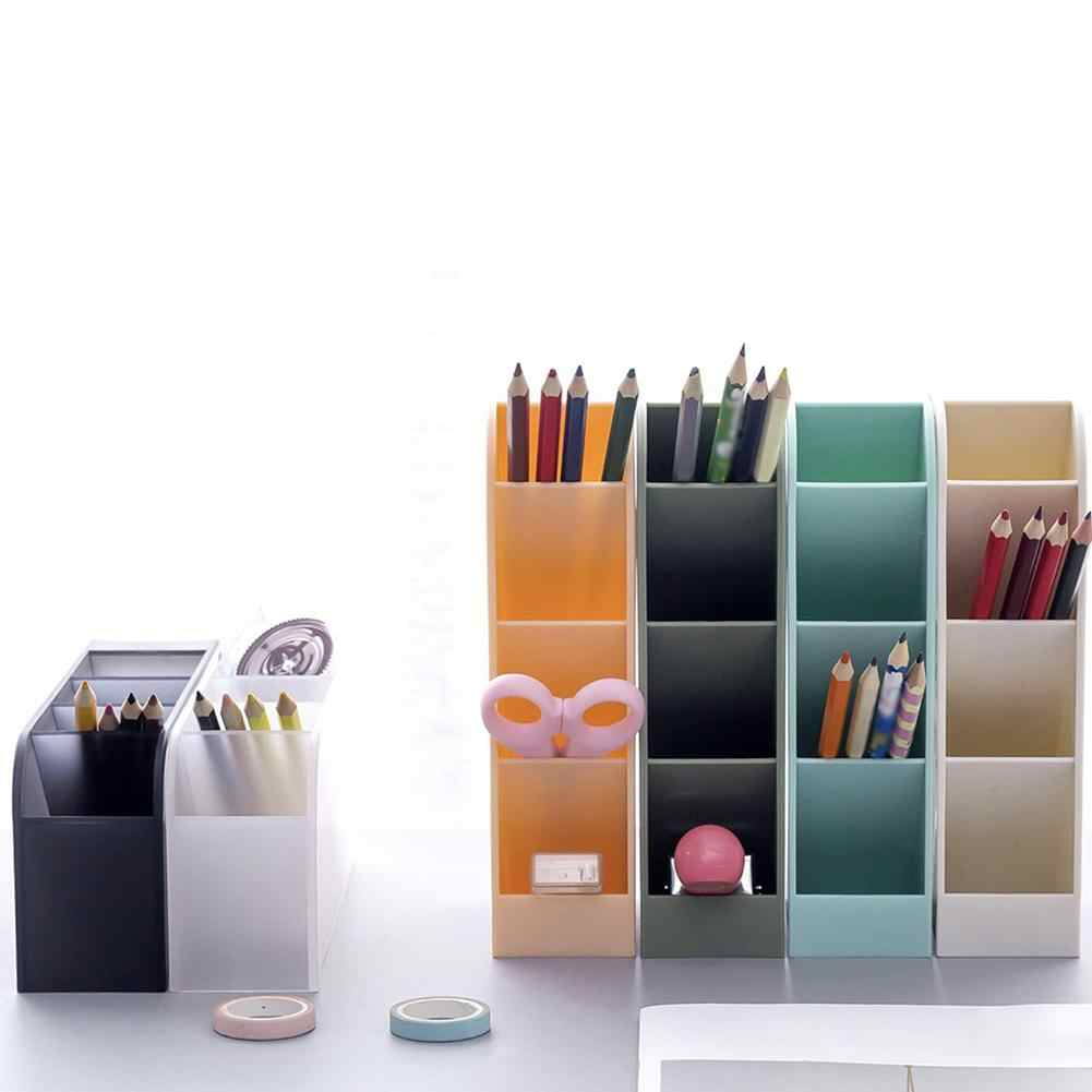 NEW Multi-function 4 Grid Desktop Pen Holder Office School Storage Case Clear White Black Plastic Box Desk Pen Pencil Organizer