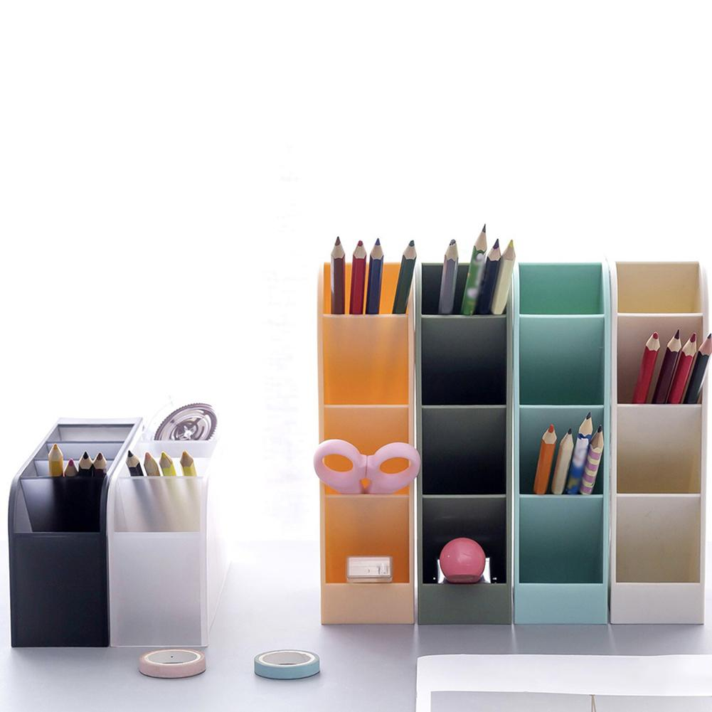 NEW Multi-function 4 Grid Desktop Pen Holder Office School Storage Case Clear White Black Plastic Box Desk Pen Pencil Organizer