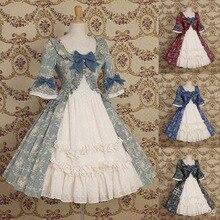 Patchwork victoriano vestido kawaii chica gótico lolita op cos Vintage dulce lolita vestido lindo bowknot impresión cuello redondo cintura alta