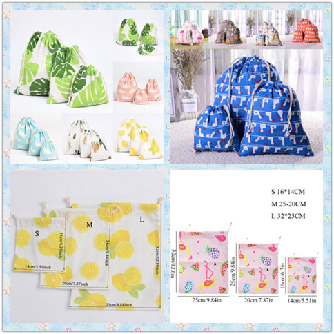 1Pc Shopping Bag Summer New Fashion Pink String Bag Fresh Cartoon Handmade Pattern Printed Cotton Linen White Storage Bag Hot