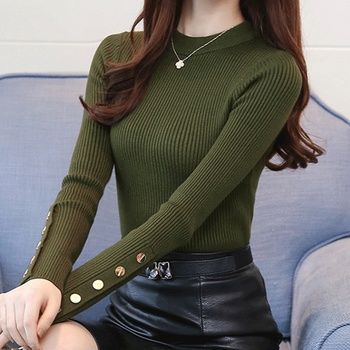 Ailegogo 2020 Stylish Women's Sweaters O-Neck Bottoming Button Knitted Pullover Tops Korean Style Solid Color 6