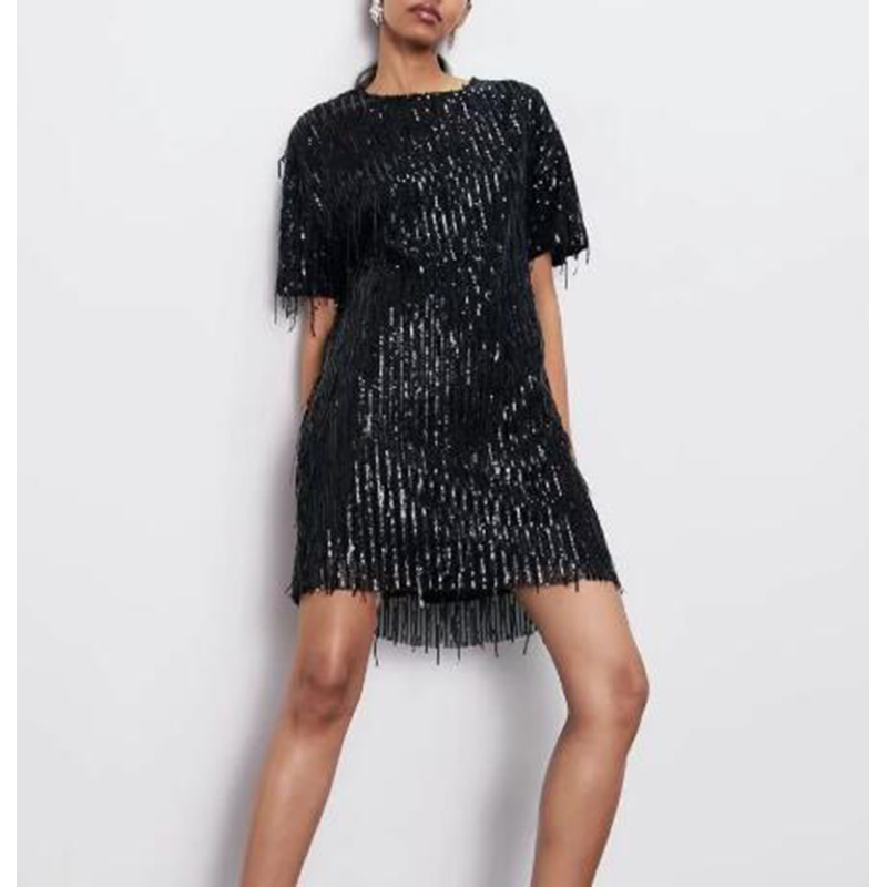 black sequence dress party lose fit fashion style