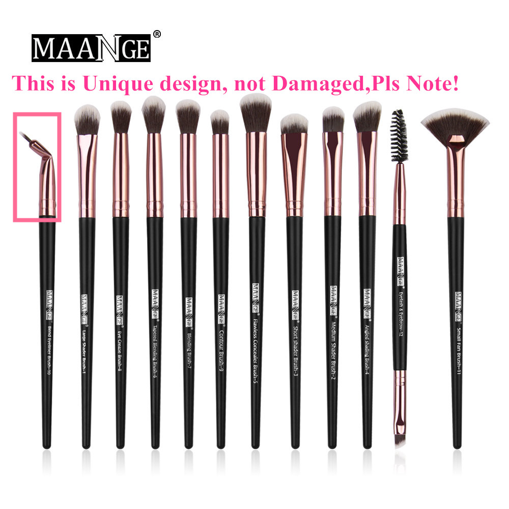 Image 5 - MAANGE New Pro Makeup Brushes Set 12 pcs/lot Eye Shadow Blending Eyebrow Eyelash Eyeliner Brushes pincel Maquiagem For Makeup-in Eye Shadow Applicator from Beauty & Health