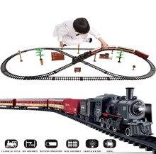 1:43 Scale Die Casting Smoke Simulation Electric Train Toy Rails Dynamic Steam Train Model Railway Set Car Circuit Kids Toys