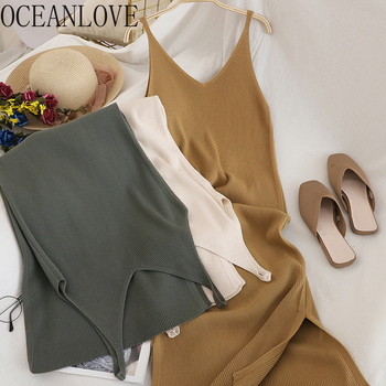 OCEANLOVE V Neck Solid Knitted Dresses Casual All Match Simple Fashion Korean Women Dress Elegant Vestidos New Clothes 15517 1