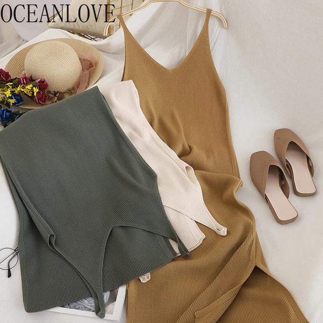 V Neck Solid Knitted Dress 1