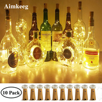 10PCS Wine Bottle Lights Mini Cork Battery Powered Garland DIY Christmas String Lights Colorful String Fairy Lights Glass Craft
