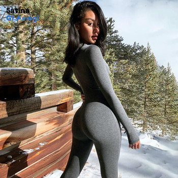 Womens Solid Long Sleeve Skiing Jumpsuit Elastic Hight Outfit Fashion Fitness Sportwear Slim Rompers Streetwear Bodysuit chic stand collar long sleeve rompers womens jumpsuits loose waist elastic drawstring streetwear robe slim overalls bodysuit