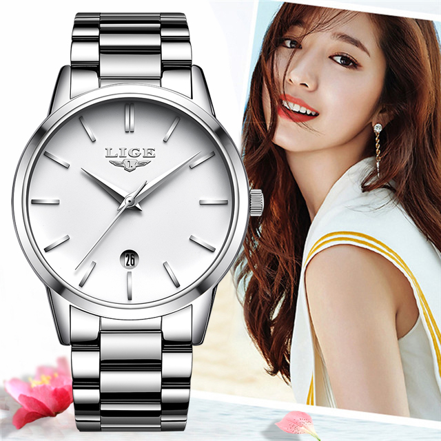 LIGE 2019 New Fashion Silver Watch Women Watches Ladies Creative Steel Women Bracelet Watches Female Gift Clock Relogio Feminino