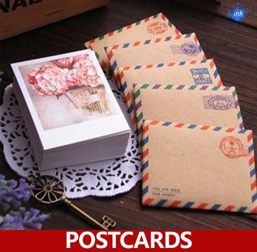 60 X (Cards +Kraft Envelopes+stickers ) / Set , Season 4 Dessert Mini Postcards As Festival Greeting Cards