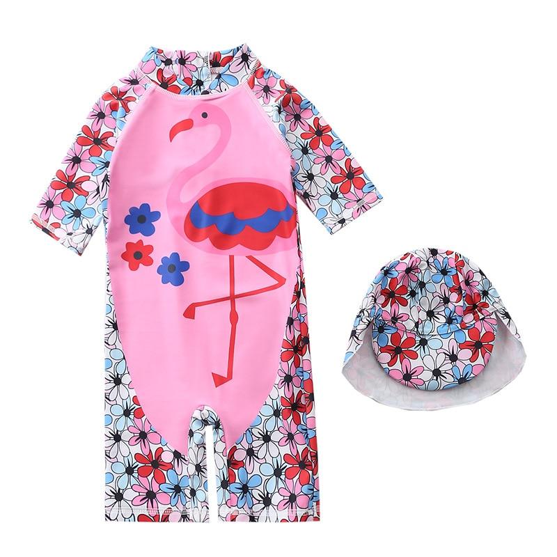 KID'S Swimwear Girls One-piece Flamingo Hooded Swimwear Long Sleeve Beachwear Sun-resistant Baby BABY'S Bathing Suit