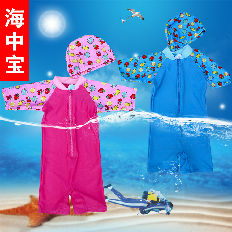 2019 New Style KID'S Swimwear One-piece Hooded Short Sleeve Tour Bathing Suit GIRL'S And BOY'S Swimwear Diving Suit Coat