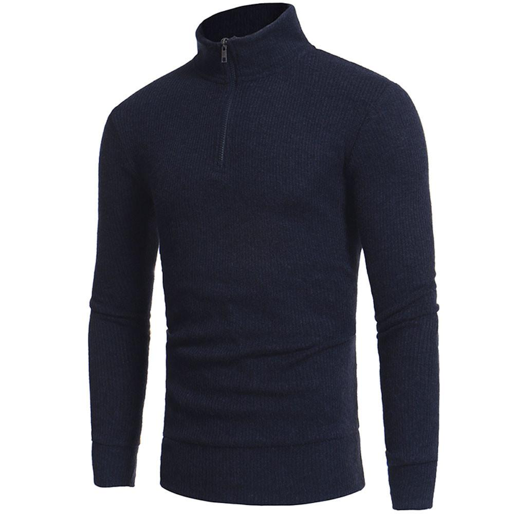 Man's Fashion Zipper Casual High-collar Men's Sweaters Tops  Winter Male Boy Warmer Cashmere Sweaters Men Knitwear Drop Ship