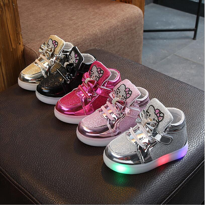 Brand New Children Shoes New Spring Hello Kitty Rhinestone Led Shoes Girls Princess Cute Shoes With Light EU 21-30