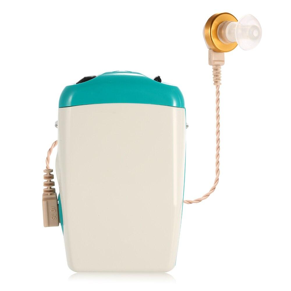 Audífono de bolsillo recargable, amplificador de sonido para pérdida auditiva severa, Volumen ajustable de voz con tapones para los oídos