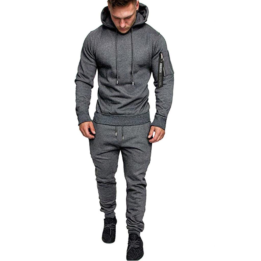 Ropa De Hombre 2019Men Autumn Splicing Zipper Print Sweatshirt Top Pants Set Sport Suit Tracksuit 2XL Ropa Hombre Mens Clothing