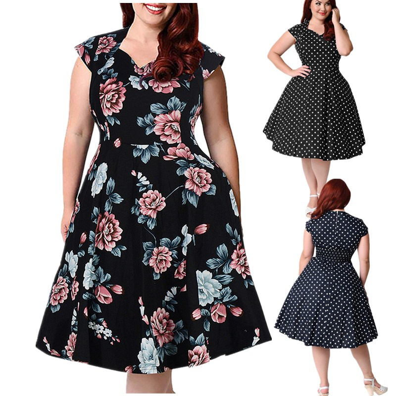 Elegant summer <font><b>plus</b></font> <font><b>size</b></font> <font><b>dresses</b></font> for women <font><b>7xl</b></font> 8xl 9xl casual loose short sleeve vintage floral print vestidos <font><b>dress</b></font> big <font><b>size</b></font> image