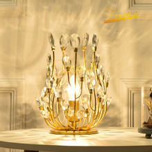 Nordic Luxury Crystal Table Lamp Modern LED Gold Table Lights for Bedroom Creative Flower Branch Princess Room Living Room Lamp nordic luxury led table lamp lighting modern k9 material crystal minimalist table lights study bedroom dining room table lamps