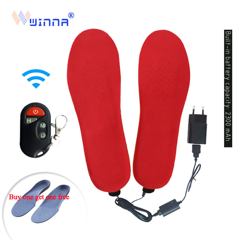 2300mAh Heated Insoles Shoe Boot Foot Warmer with Remote Control Size EUR 35 46 Velvet Fabric