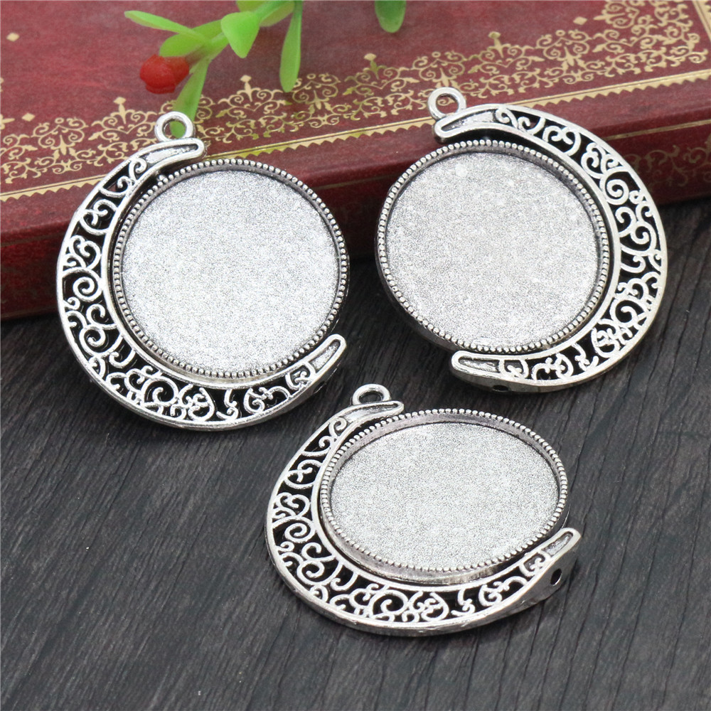 5pcs 25mm Inner Size Rotation Double Side Antique Silver Colors Cameo Cabochon Base Setting Charms New Fashion Pendant (A3-01)