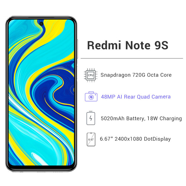 Global Version Xiaomi Redmi Note 9S 6GB 128GB Cellphone Snapdragon 720G Octa Core 48MP Quad Camera 5020mAh 18W Charge Note 9 S 3