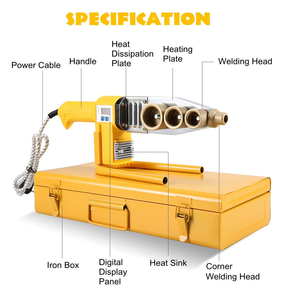 800W Electric Pipe Welding Machine Heating Tool Heads Set PPR PB PE Plastic Tube