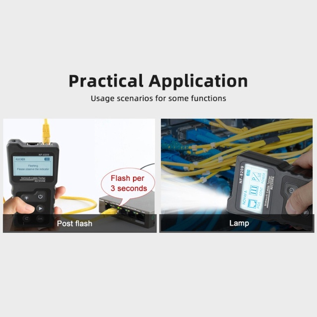 NF-8209 LCD Display Measure Length Lan Cable POE Wire Checker Cat5 Cat6 Lan Test Network Tool Scan Cable Wiremap Tester 6