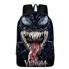 Men Backpack 3D Printed Super Hero VENOM Movie Comics School Bags Book Knapsack For Kids Child Boy Gril