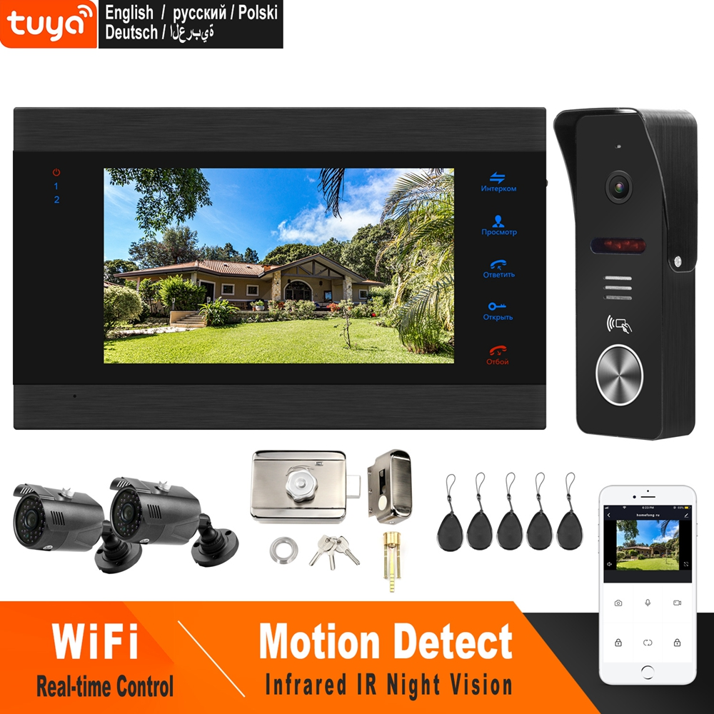 HomeFong Wifi Video Intercom Wireless Door Intercom With Lock 2 Camera APP Remote Unlock Real Time Control Access Control System