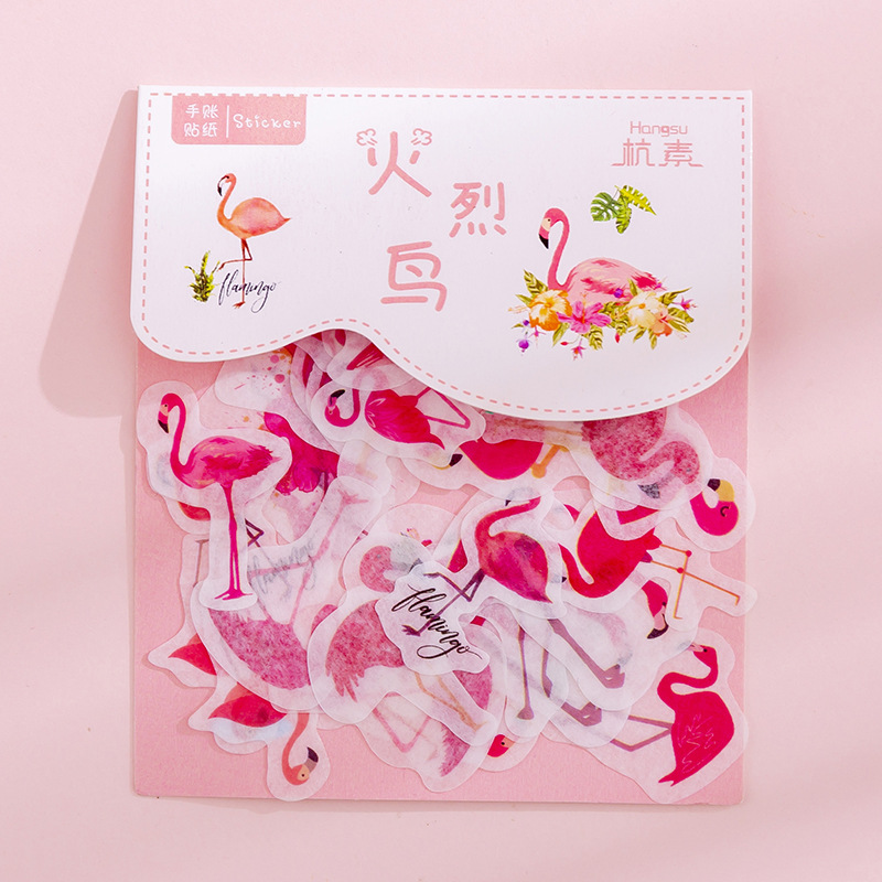 40pcs/Pack Stationery Stickers Vaporwave DIY Flamingo Sticky Paper Kawaii Cherry Blossoms Stickers For Diary Scrapbooking