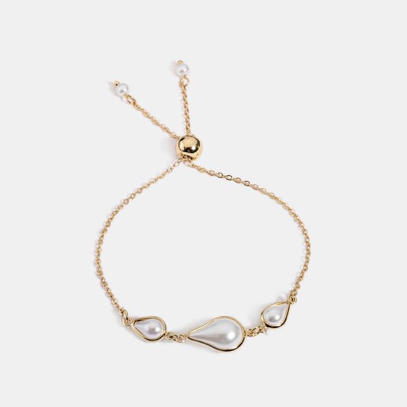Goutte d'eau Imitation perle breloque Breslet femmes perles lien chaîne Stretch ajuster Bracelets mode bijoux en gros livraison directe
