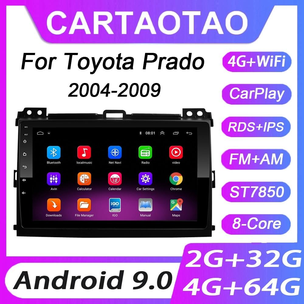 Автомагнитола 2DIN, 4 + 64 ГБ, Android 9,0, GPS-навигация, Wi-Fi, RDS, мультимедийный плеер для Toyota LAND CRUISER Prado 120, 2004, 2005-2009