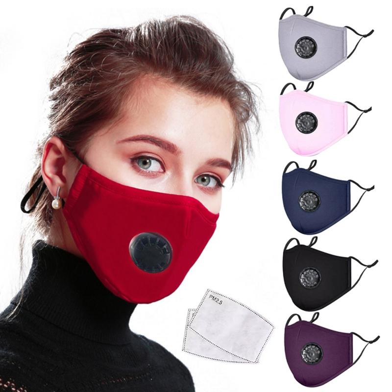 PM2.5 Mask Dust Respirator Reusable Masks Cotton Unisex Mouth Masks + 2pcs Carbon Filter Pad Anti Pollution