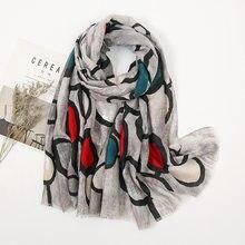 Foulard en coton imprimé pour femmes, châle de luxe en lin, longue tête de styliste, Hijab, Bandana pour dames, printemps