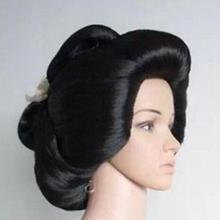Ювелирный парик! Черная японская гейша Flaxen волосы синтетический Повседневный парик для косплея