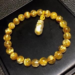 Image 5 - Genuine Natural Gold Rutilated Titanium Quartz Bracelet 7.5mm Woman Man Wealthy Clear Pi Xiu Pendant Carved Pendant AAAAA