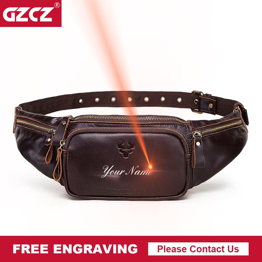 GZCZ 100% Cowhide Leather Waist Pack Fashion Men Multifunction Fanny Pack Bum Bags Hip Money Belt Travel For Mobile Phone Bag